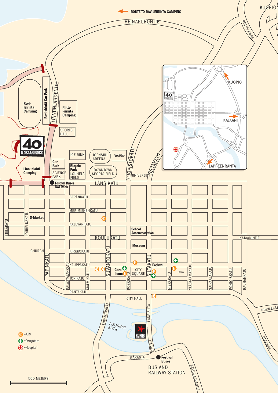 Ilosaarirock Festival 2011 Info Map of Joensuu
