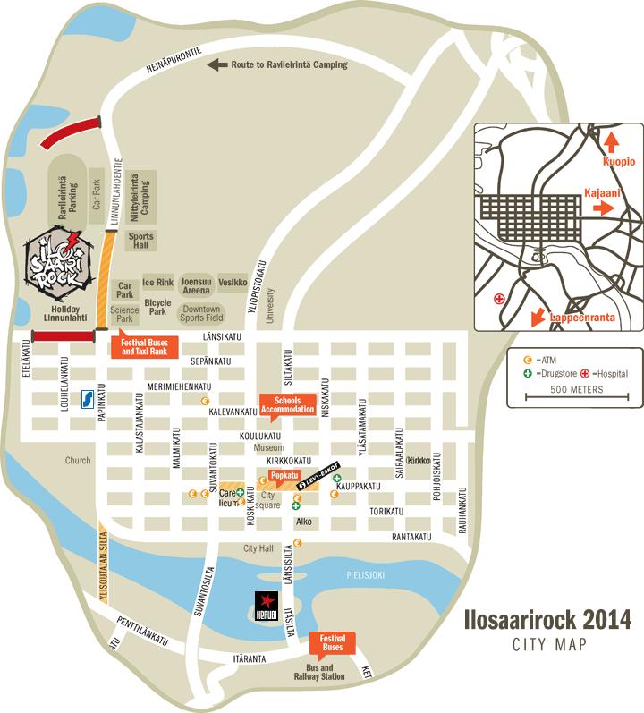 Ilosaarirock Festival 2014 Info Joensuu City Map