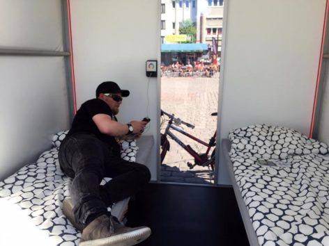 Panu Hattunen chilling at Snoozy mobile hotel. Photo: Petri Varis.